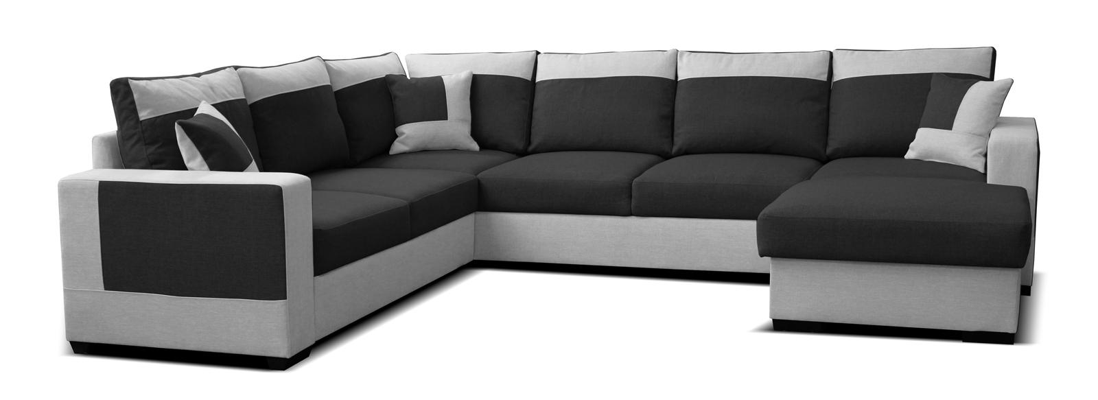Rohová sedačka U - Po-Sed - Mega 2+A+2F+L (čierna + sivá) (P). Akcia -22%. Doprava ZDARMA. Sme autorizovaný predajca Po-Sed. Vlastná spoľahlivá doprava až k Vám domov.