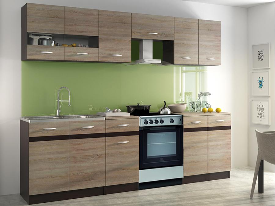 Kuchyňa - Renar - Livia 240 cm dub sonoma svetlá + dub sonoma tmavá. Sme autorizovaný predajca Renar. Vlastná spoľahlivá doprava až k Vám domov.