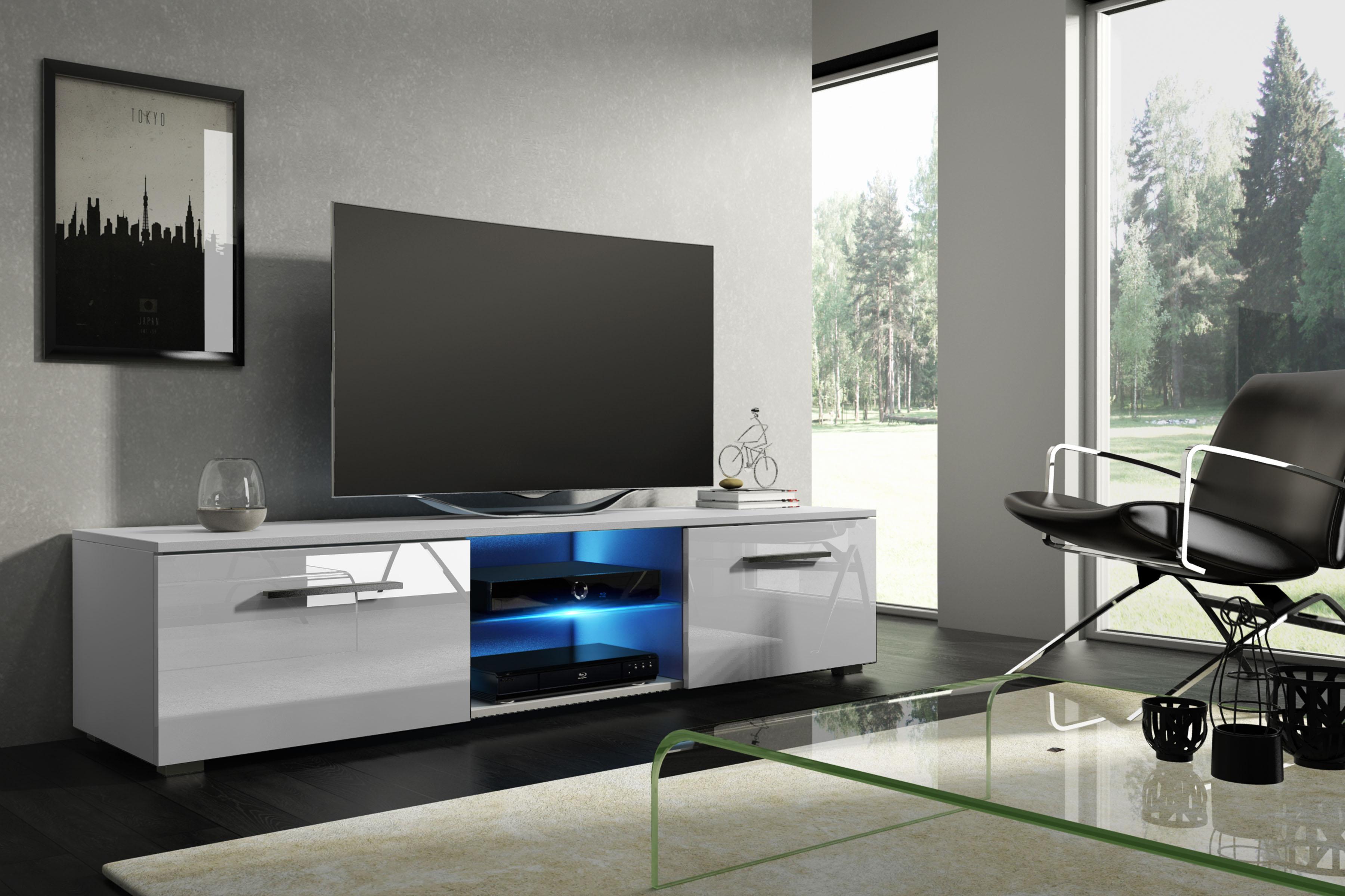 66a19e513 TV stolík/skrinka Moon (biela + lesk biely)