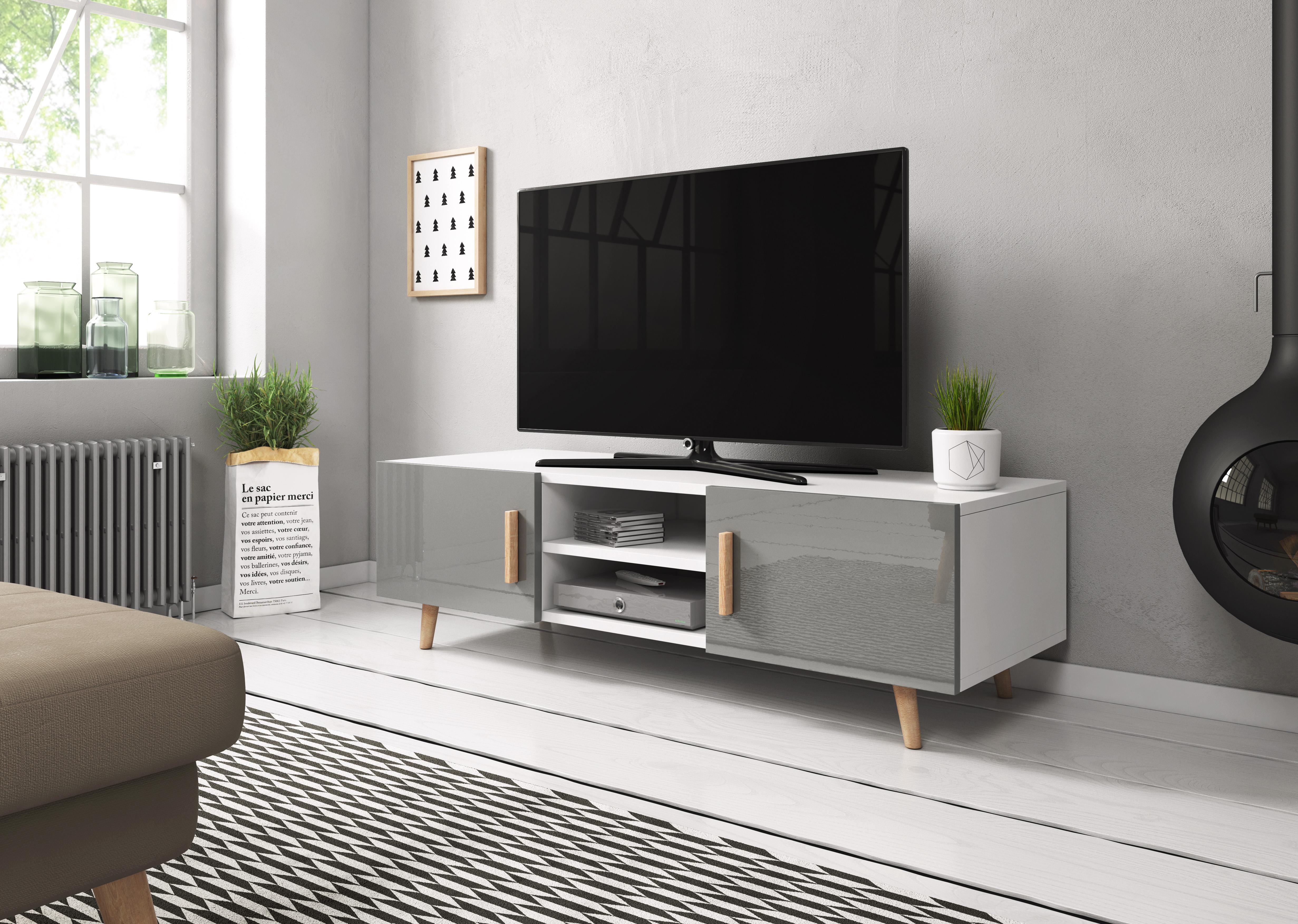 dc0779bc6 TV stolík/skrinka Sweden 2 (sivý lesk + biela matná) | NovýNábytok.sk