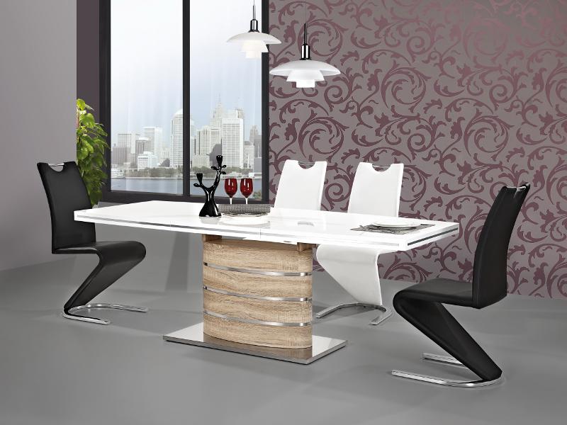 a41e9c31619f Jedálenský stôl - Signal - Fano (lesk vysoký biely + dub sonoma) (pre