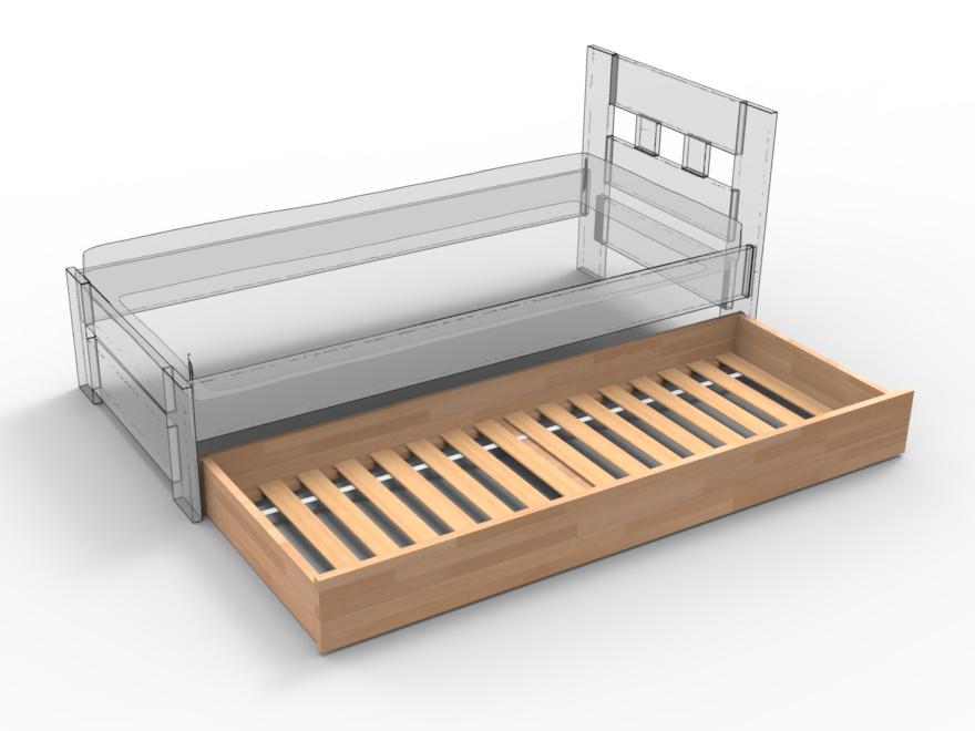 Prístelka pod posteľ z masívu
