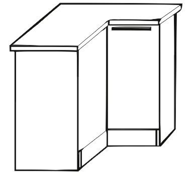 Dolná kuchynská skrinka, rohová - Tempo Kondela - Irys New - DN-80 P/L