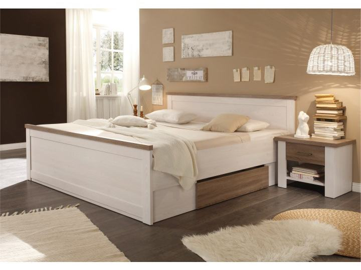 Manželská posteľ 180 cm - Tempo Kondela - Lumera (ul. priestor + 2ks stolík) (biela + dub sonoma). Sme autorizovaný predajca Tempo-Kondela. Vlastná spoľahlivá doprava až k Vám domov.
