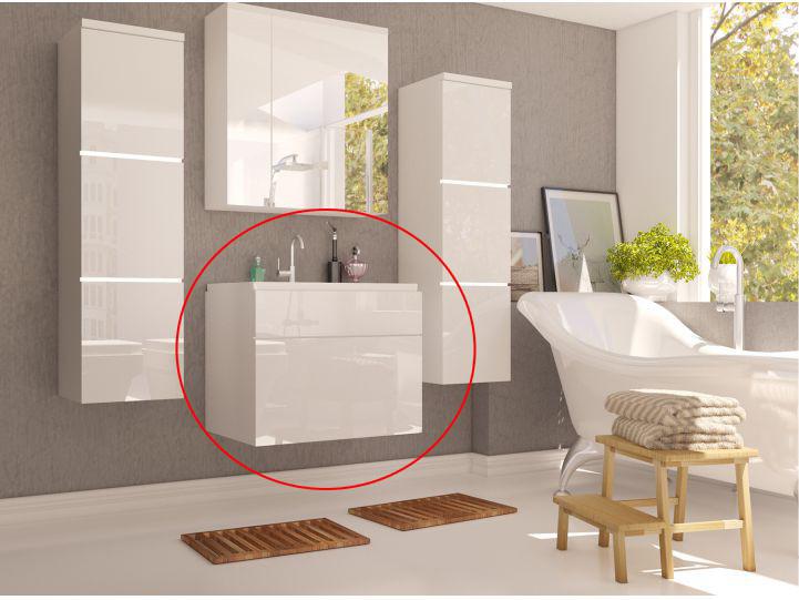 Kúpeľňová skrinka pod umyvadlo - Tempo Kondela - Mason (biela + biela extra vysoký lesk). Sme autorizovaný predajca Tempo-Kondela. Vlastná spoľahlivá doprava až k Vám domov.