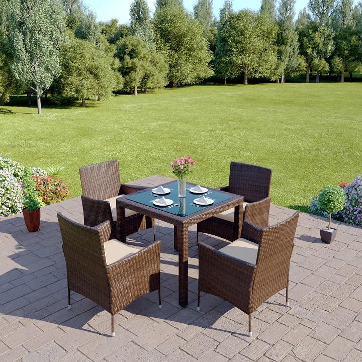 Záhradný nábytok - Tempo Kondela - Morton 1+4 (hnedá + krémová). Akcia -29%. Sme autorizovaný predajca Tempo-Kondela. Vlastná spoľahlivá doprava až k Vám domov.