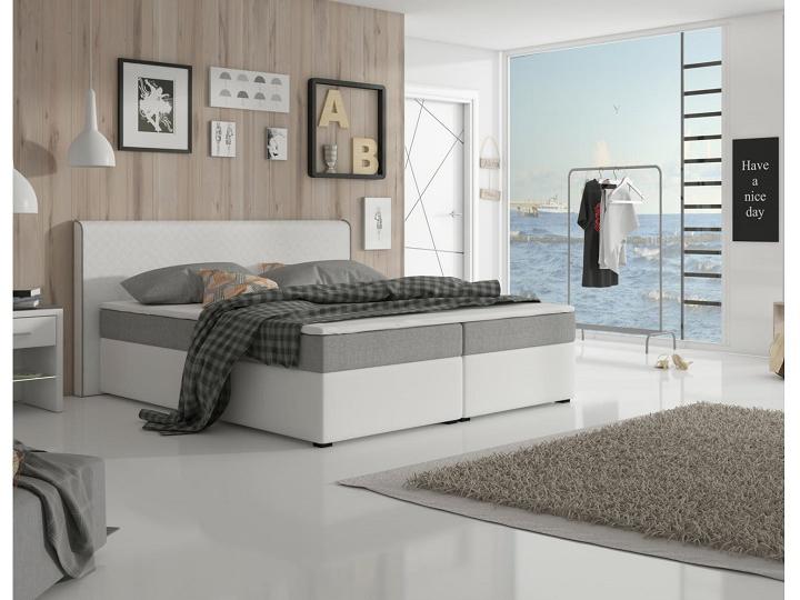 Manželská posteľ Boxspring 160 cm - Tempo Kondela - Novara Megakomfort Visco (biela + sivá) (s matracom a roštom). Doprava ZDARMA. Sme autorizovaný predajca Tempo-Kondela. Vlastná spoľahlivá doprava až k Vám domov.