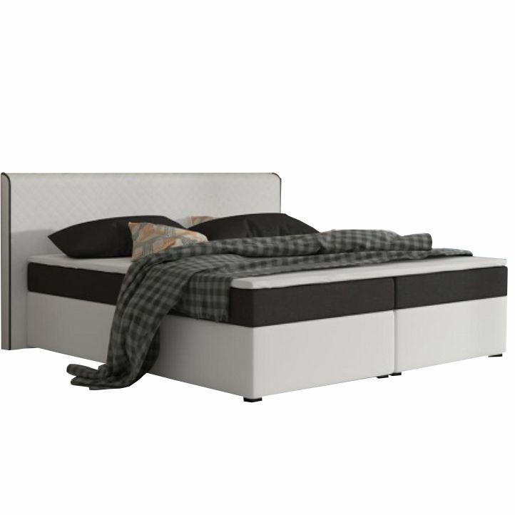 Manželská posteľ Boxspring 160 cm - Tempo Kondela - Novara Megakomfort Visco (biela + čierna) (s matracom a roštom). Doprava ZDARMA. Sme autorizovaný predajca Tempo-Kondela. Vlastná spoľahlivá doprava až k Vám domov.