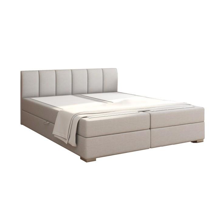 Manželská posteľ Boxspring 180 cm Riana (svetlosivá) (s roštom, matracom a úl. priestorom)
