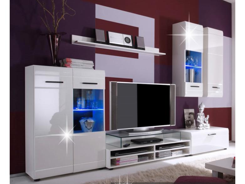 Obývacia stena - Tempo Kondela - Zepos - Biela/Biely lesk