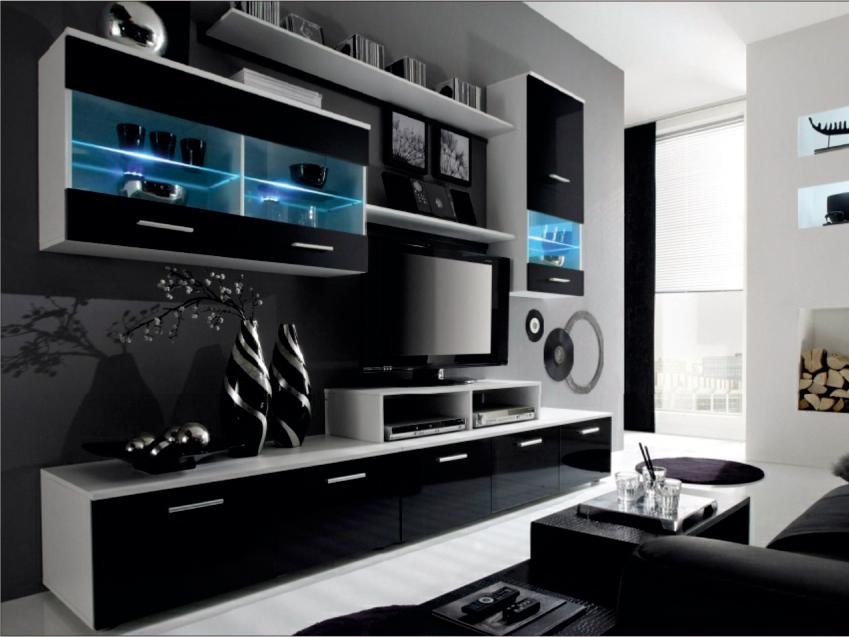 Obývacia stena - Tempo Kondela - Leo biela + čierna (s osvetlením) *masážny prístroj ZADARMO. Akcia -10%. Sme autorizovaný predajca Tempo-Kondela. Vlastná spoľahlivá doprava až k Vám domov.