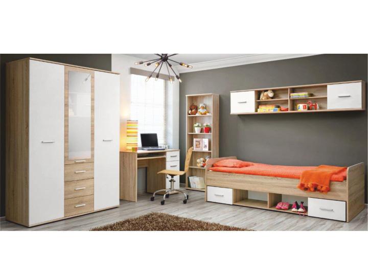 Jednolôžková posteľ 90 cm - Tempo Kondela - Emio - Typ 04 - Biela