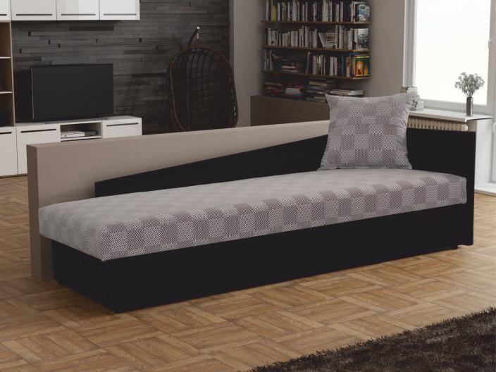 Jednolôžková posteľ (váľanda) 80 cm - Tempo Kondela - Judit (sivá + čierna) (s úl. priestorom) (P). Sme autorizovaný predajca Tempo-Kondela. Vlastná spoľahlivá doprava až k Vám domov.