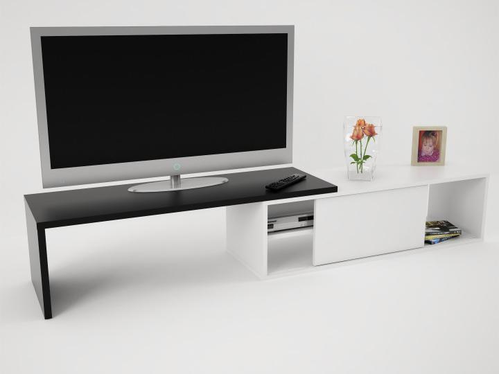 c4b30aae5 TV stolík/skrinka Rodas (biela + čierna) | NovýNábytok.sk