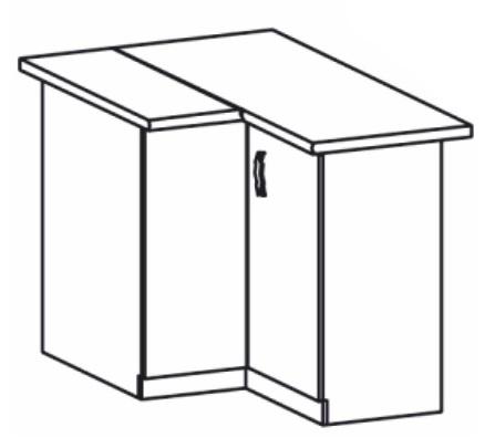 Dolná kuchynská skrinka, rohová - Tempo Kondela - Royal - D90N