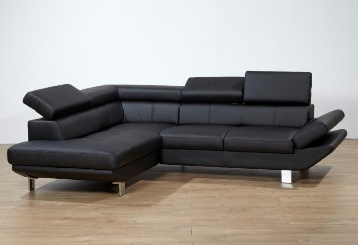 Kožená rohová sedačka - Tempo Kondela - Casting - čierna (L)