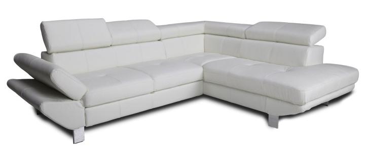 Kožená rohová sedačka - Tempo Kondela - Casting - biela (P)