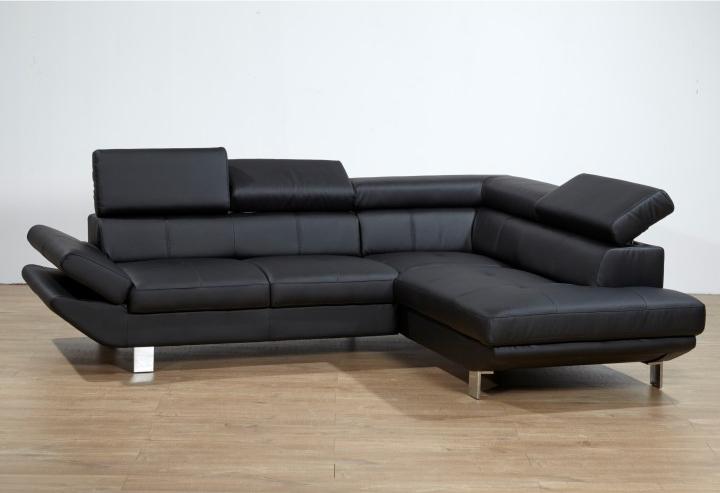 Kožená rohová sedačka - Tempo Kondela - Casting - čierna (P)