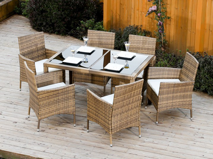 Záhradný nábytok - Tempo Kondela - Garden 1+6 (umelý ratan). Akcia -8%. Sme autorizovaný predajca Tempo-Kondela. Vlastná spoľahlivá doprava až k Vám domov.