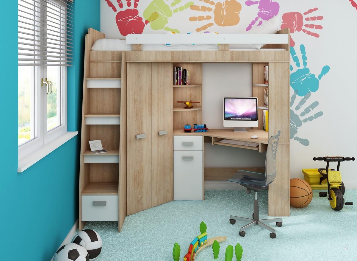 Rohová poschodová posteľ - WIP - Antresola (L) Sonoma + biela (s roštom). Sme autorizovaný predajca WIP. Vlastná spoľahlivá doprava až k Vám domov.