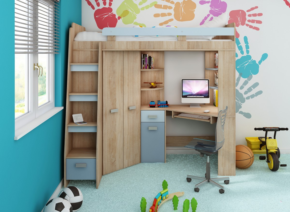 Rohová poschodová posteľ - WIP - Antresola (L) Sonoma + modrá (s roštom). Sme autorizovaný predajca WIP. Vlastná spoľahlivá doprava až k Vám domov.