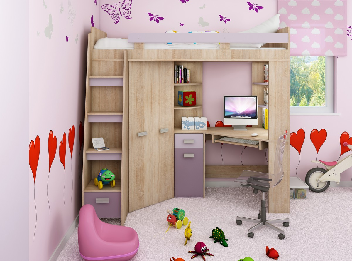 Rohová poschodová posteľ - WIP - Antresola (L) Sonoma + fialová (s roštom). Sme autorizovaný predajca WIP. Vlastná spoľahlivá doprava až k Vám domov.