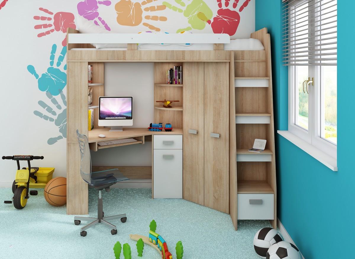 Rohová poschodová posteľ - WIP - Antresola (P) Sonoma + biela (s roštom). Sme autorizovaný predajca WIP. Vlastná spoľahlivá doprava až k Vám domov.