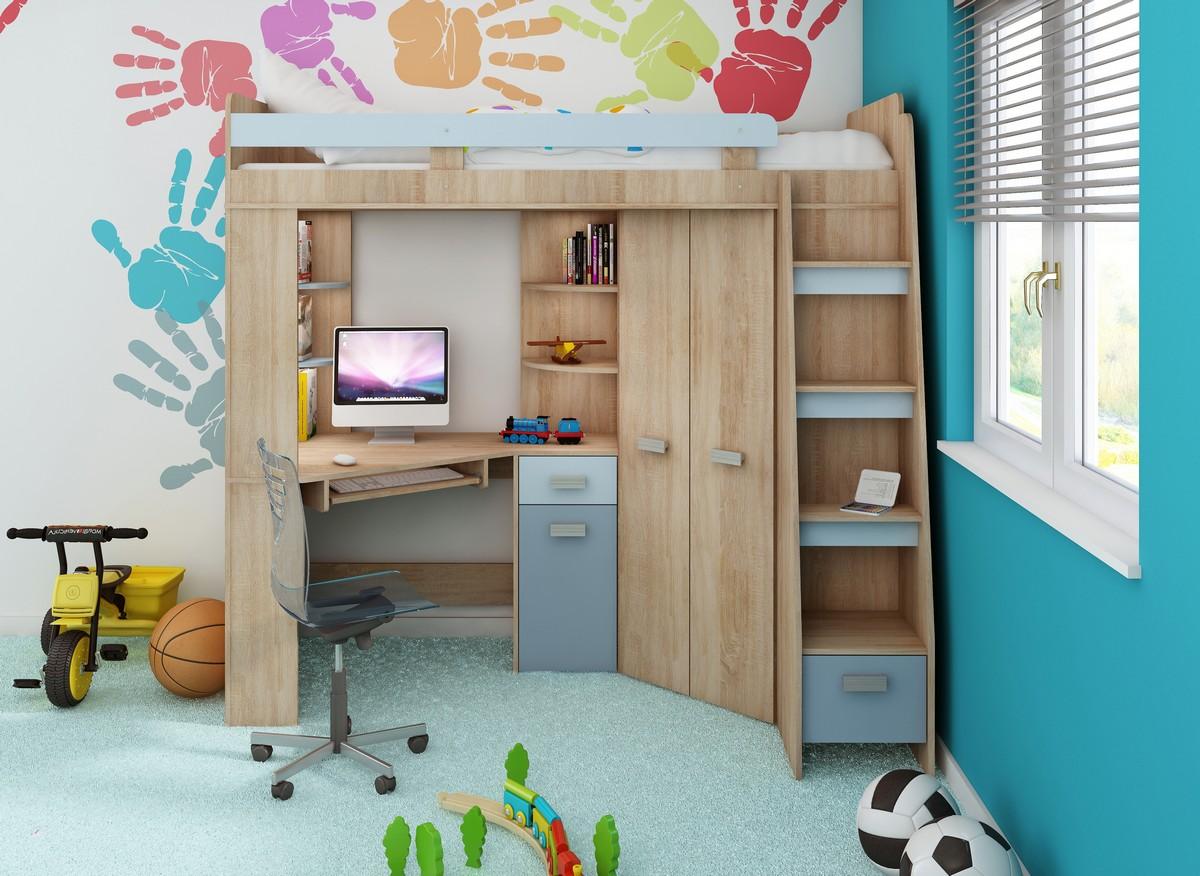 Rohová poschodová posteľ - WIP - Antresola (P) Sonoma + modrá (s roštom). Sme autorizovaný predajca WIP. Vlastná spoľahlivá doprava až k Vám domov.