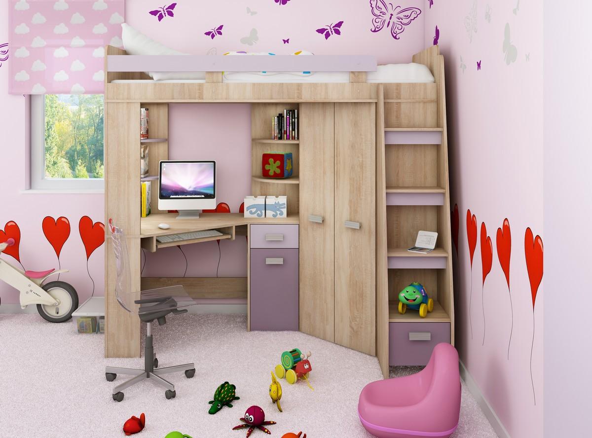 Rohová poschodová posteľ - WIP - Antresola (P) Sonoma + fialová (s roštom). Sme autorizovaný predajca WIP. Vlastná spoľahlivá doprava až k Vám domov.
