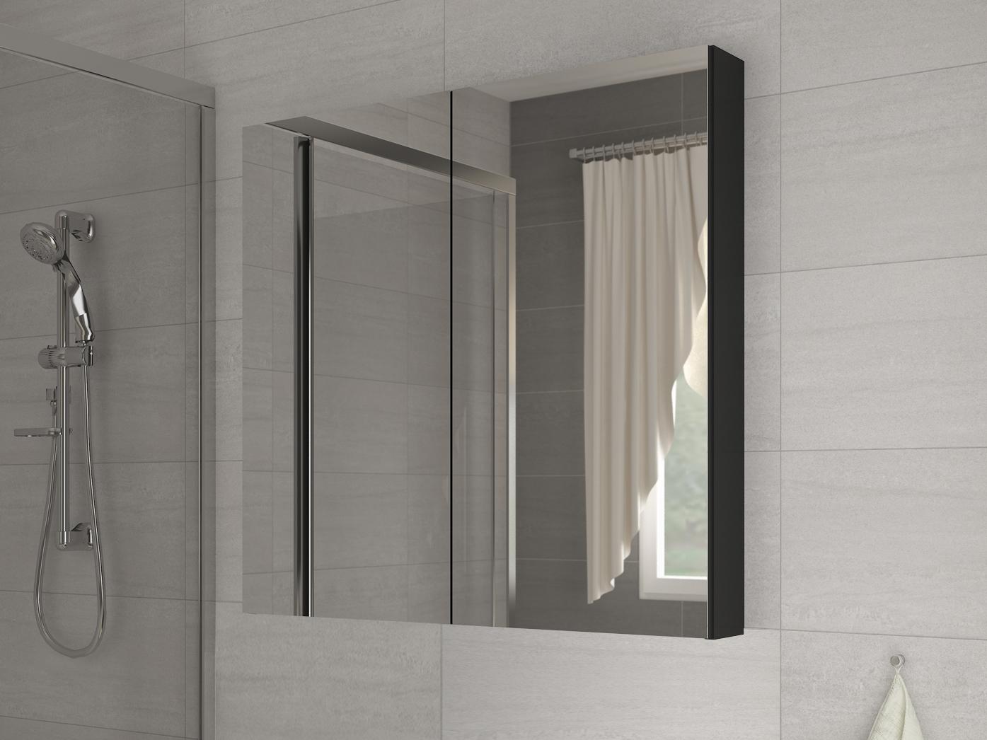 Kúpelňová skrinka na stenu - WIP - Della 60 čierna + zrkadlo