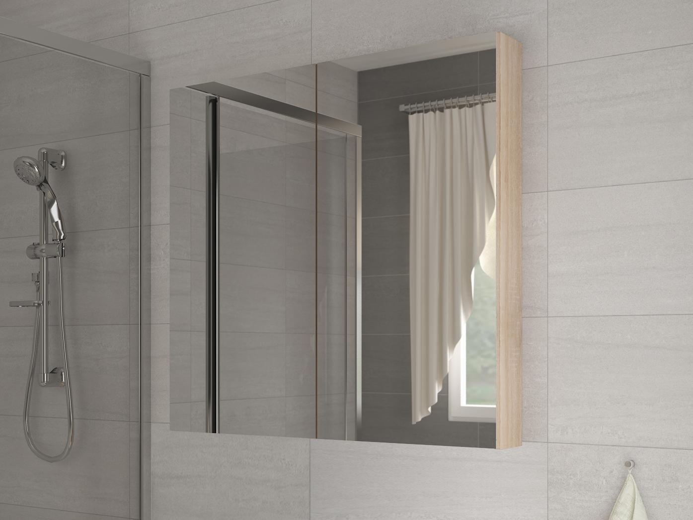 Kúpelňová skrinka na stenu - WIP - Della 60 dub sonoma svetlý + zrkadlo