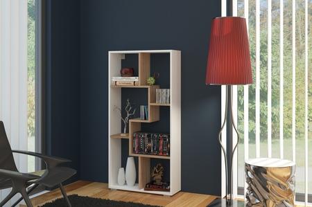 Regál - WIP - Domino B úzky biela + dub sonoma svetlý. Sme autorizovaný predajca WIP. Vlastná spoľahlivá doprava až k Vám domov.