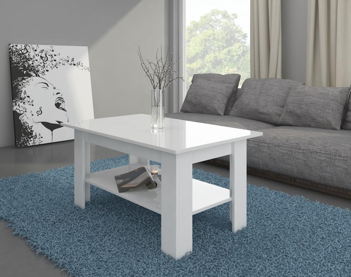 Konferenčný stolík - WIP - Elaiza (biela + lesk biely)