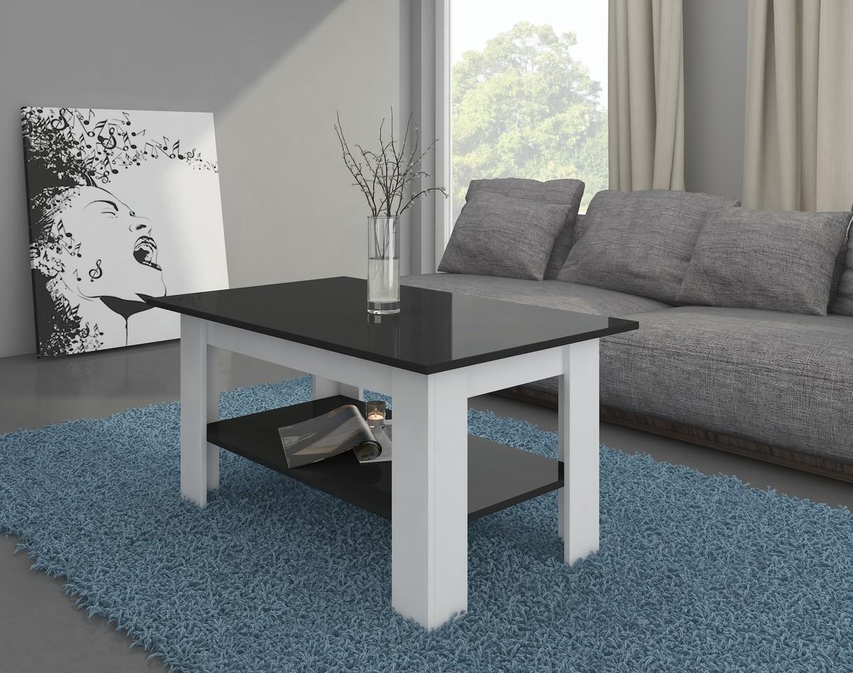 Konferenčný stolík - WIP - Elaiza (biela + lesk čierny)