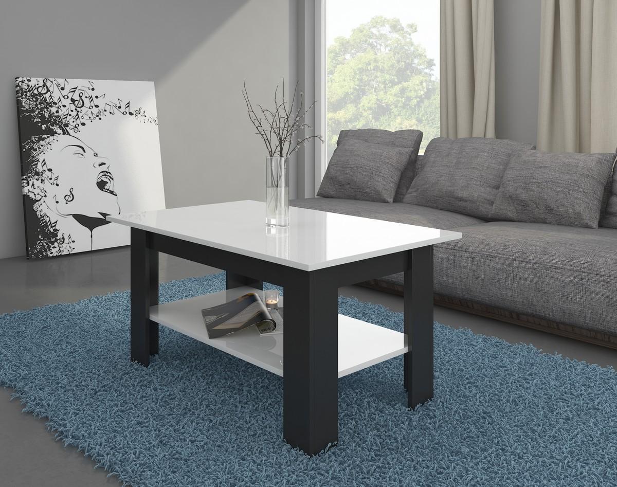 Konferenčný stolík - WIP - Elaiza (čierna + lesk biely)