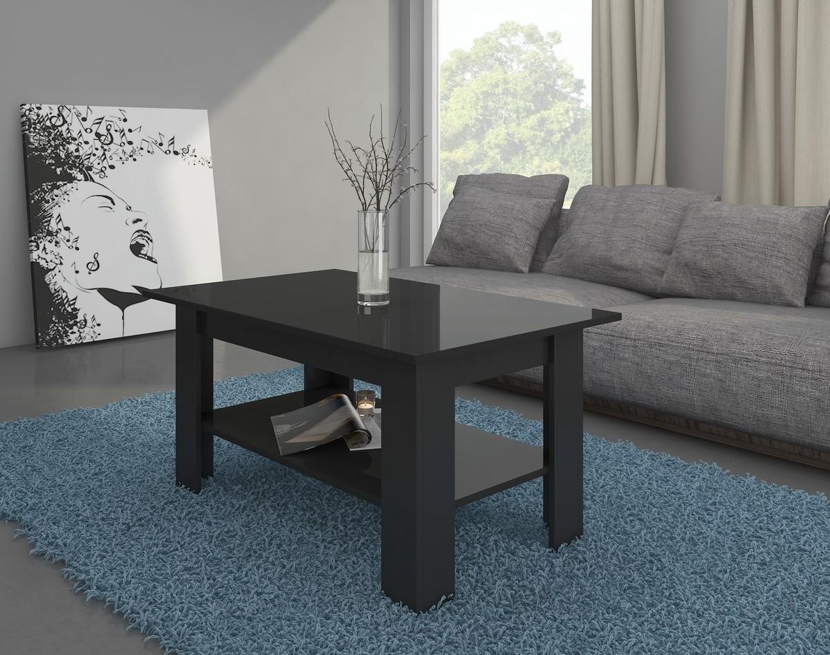 Konferenčný stolík - WIP - Elaiza (čierna + lesk čierny)