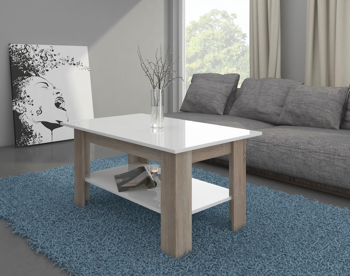 Konferenčný stolík - WIP - Elaiza (sonoma svetlá + lesk biely)
