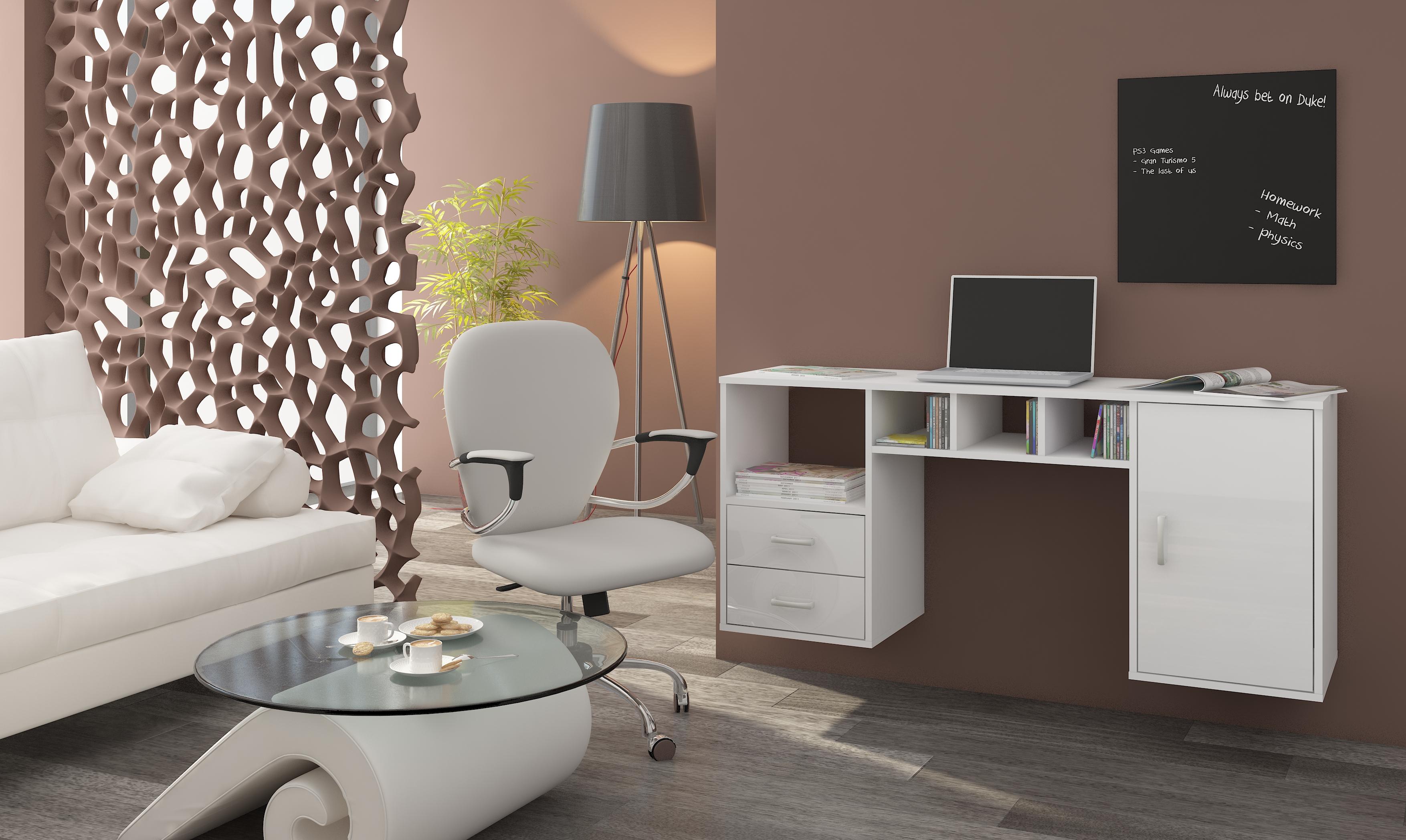 PC stolík - WIP - Hanger biela + lesk biely. Sme autorizovaný predajca WIP. Vlastná spoľahlivá doprava až k Vám domov.