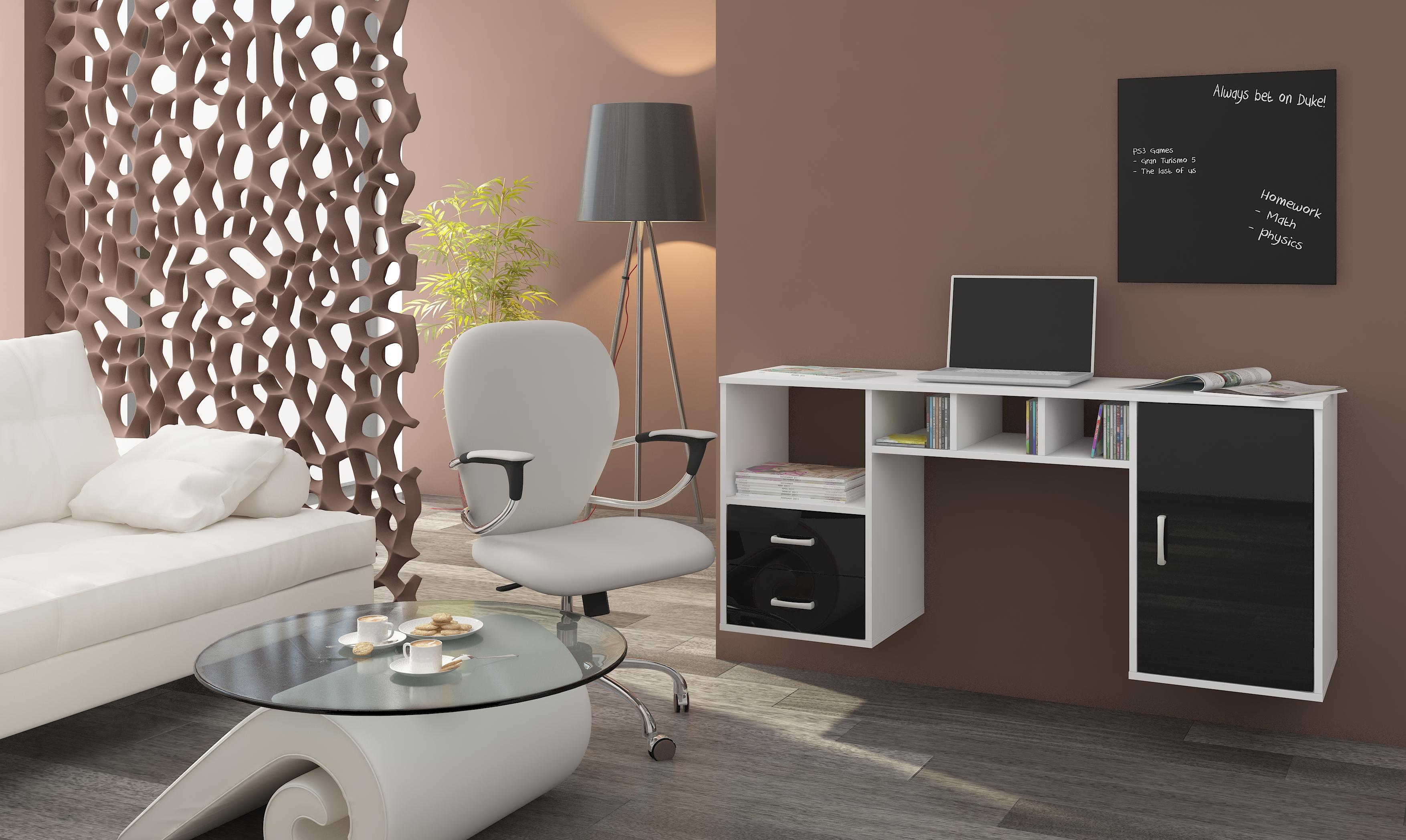 PC stolík - WIP - Hanger biela + lesk čierny. Sme autorizovaný predajca WIP. Vlastná spoľahlivá doprava až k Vám domov.