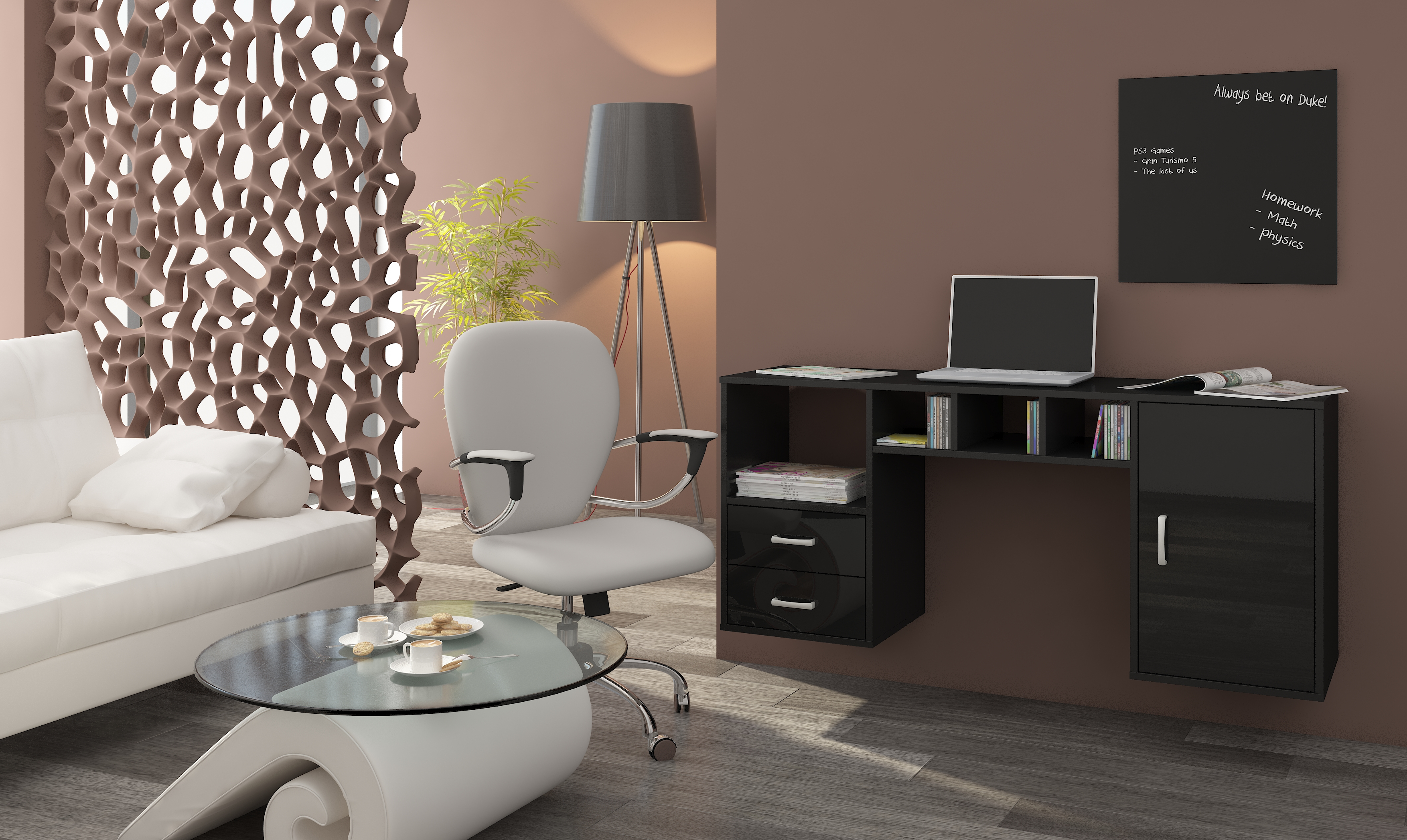 PC stolík - WIP - Hanger čierna + lesk čierny