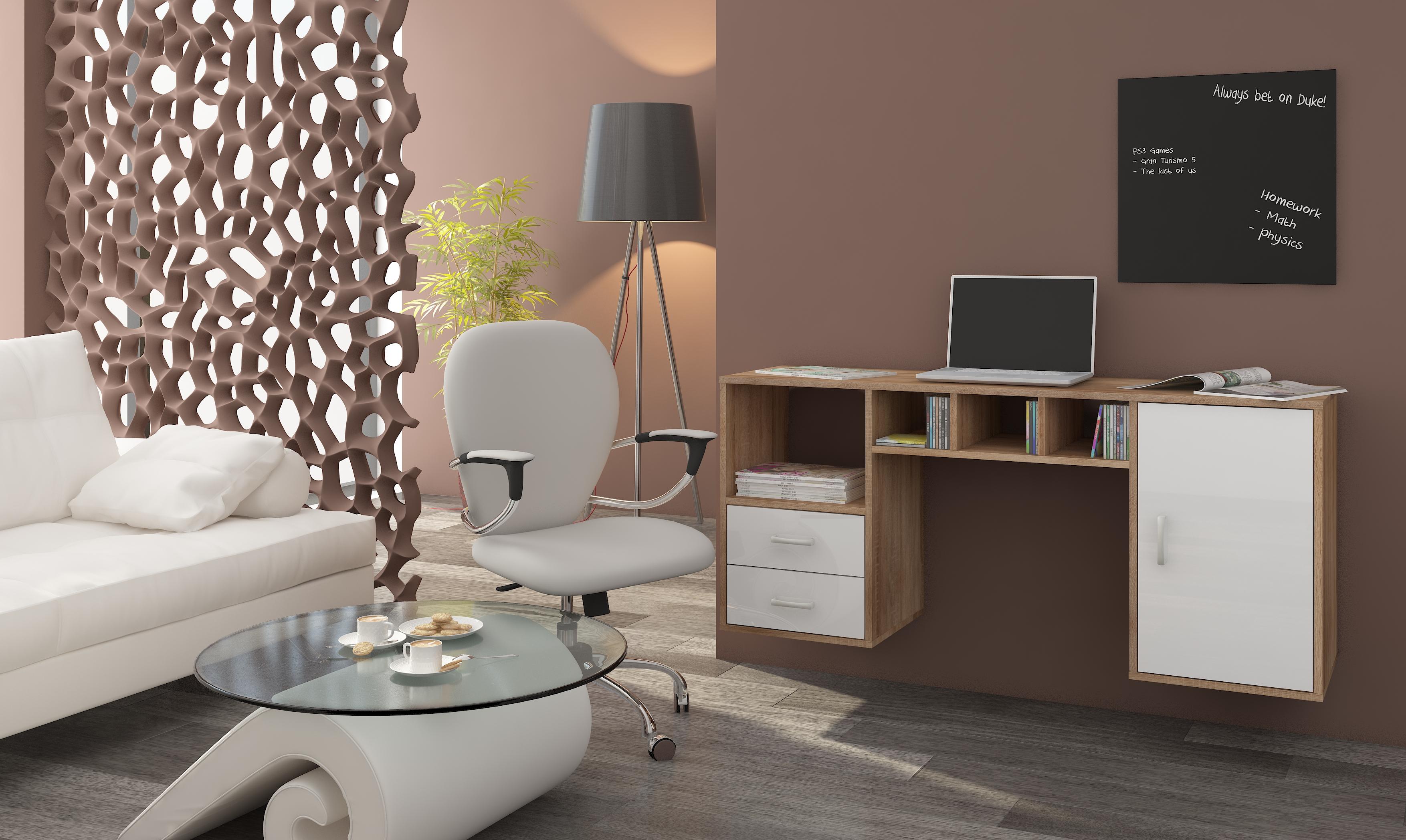 PC stolík - WIP - Hanger dub sonoma svetlý + lesk biely