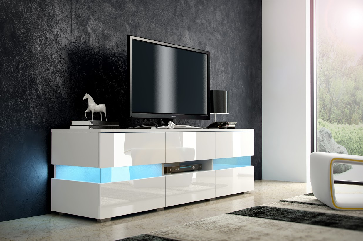TV stolík - WIP - Inter - biela + lesk biely. Sme autorizovaný predajca WIP. Vlastná spoľahlivá doprava až k Vám domov.