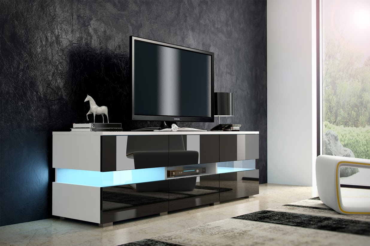 TV stolík - WIP - Inter - biela + lesk čierny