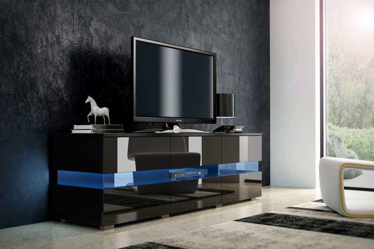 TV stolík - WIP - Inter - čierna + lesk čierny