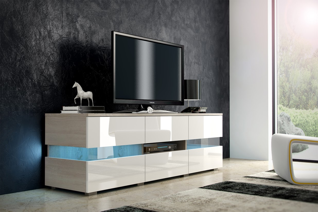 TV stolík - WIP - Inter - dub sonoma svetlý + lesk biely. Sme autorizovaný predajca WIP. Vlastná spoľahlivá doprava až k Vám domov.