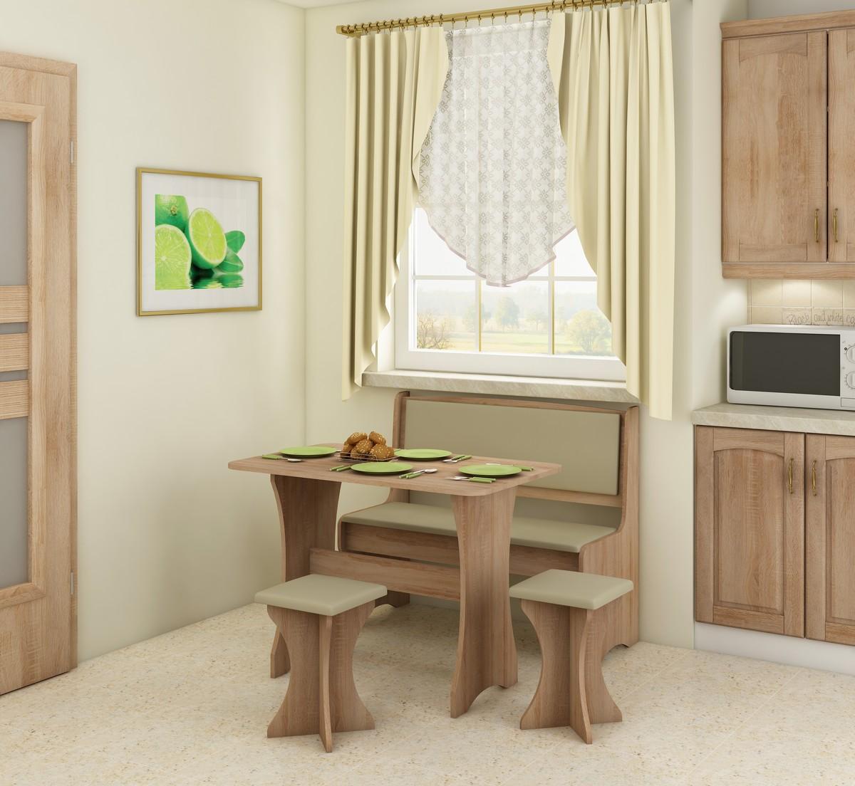 Jedálenský set - WIP - dub sonoma svetlá + ekokoža béžová (s taburetkami) (pre 4 osoby). Sme autorizovaný predajca WIP. Vlastná spoľahlivá doprava až k Vám domov.