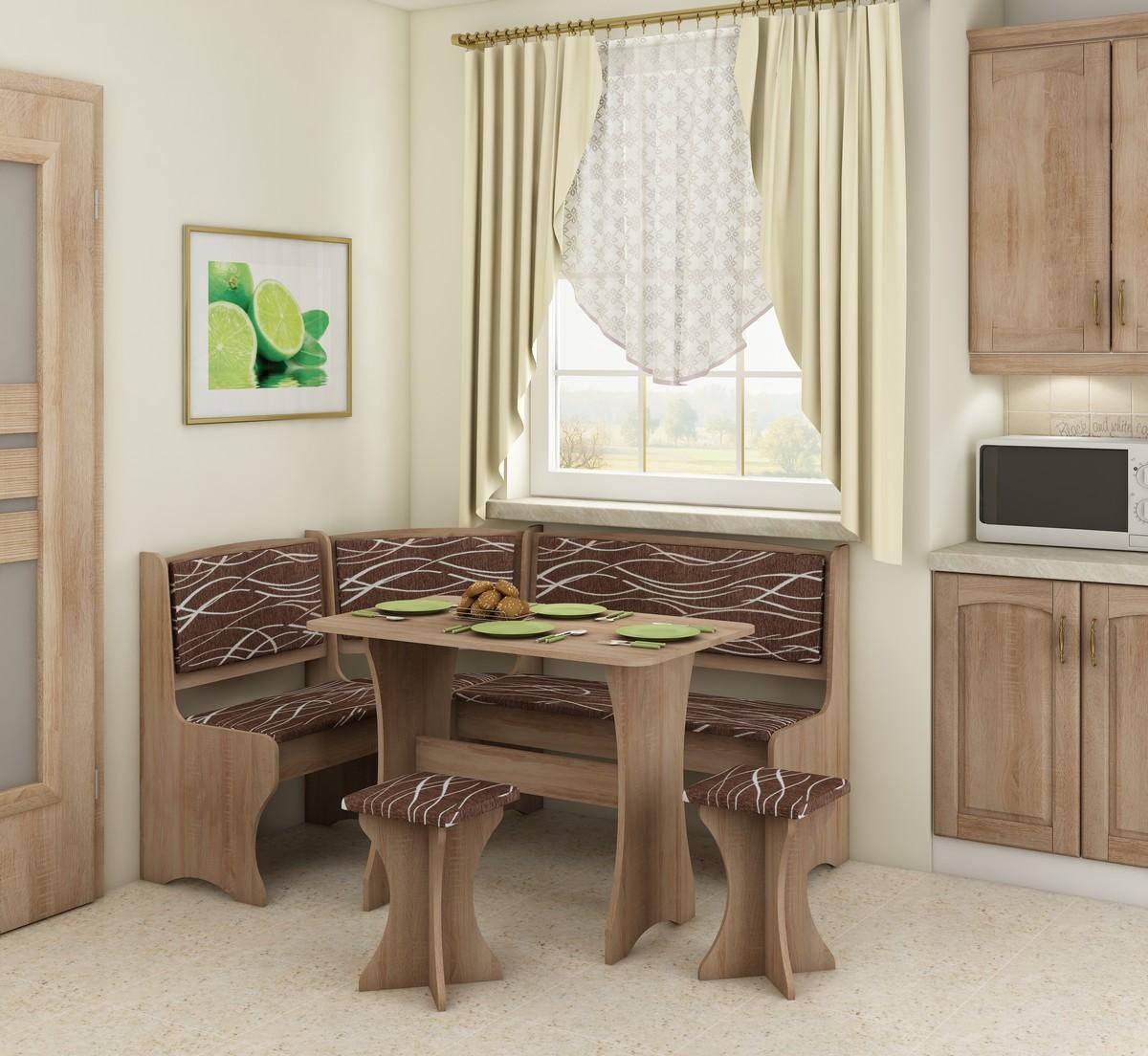 Rohový jedálenský set - WIP - dub sonoma svetlá + safari (s taburetkami) (pre 5 osôb). Sme autorizovaný predajca WIP. Vlastná spoľahlivá doprava až k Vám domov.