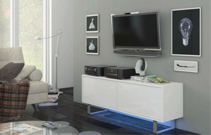 TV stolík/skrinka - WIP - King 1 (biela + lesk biely). Sme autorizovaný predajca WIP. Vlastná spoľahlivá doprava až k Vám domov.