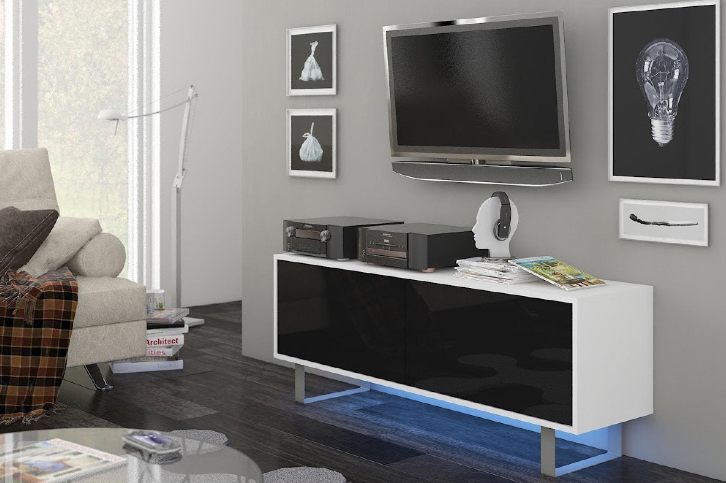 TV stolík/skrinka - WIP - King 1 (biela + lesk čierny). Sme autorizovaný predajca WIP. Vlastná spoľahlivá doprava až k Vám domov.