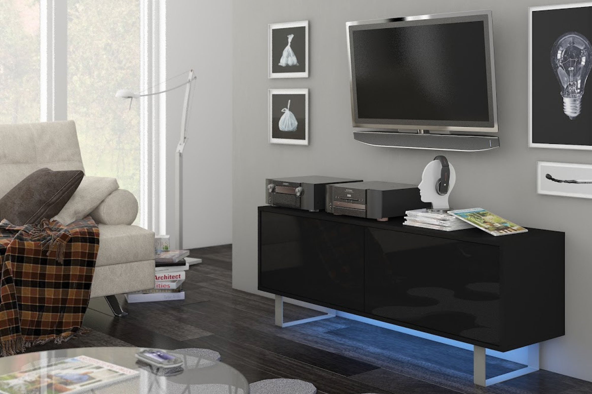 TV stolík/skrinka - WIP - King 1 (čierna + lesk čierny). Sme autorizovaný predajca WIP. Vlastná spoľahlivá doprava až k Vám domov.